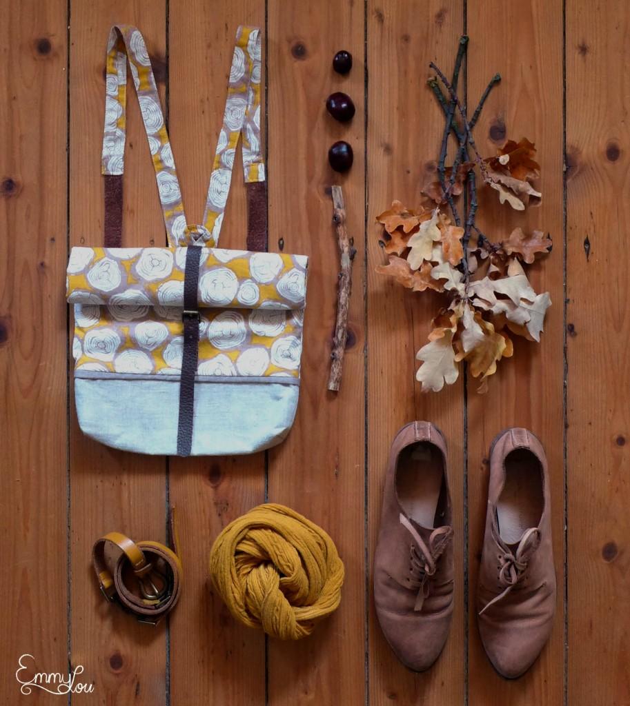 Collage Rucksack, Schuhe, Strumpfhose und Gürtel